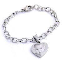 Braccialetto con cuore in acciaio inossidabile personalizzato con foto/testo
