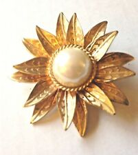 Pendant Large Figural Flower w Faux Pearl Center - 3 dimensional (Re-purposed)