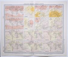 1899 LARGE WEATHER METEOROLOGY MAP ANOMALOUS WEATHER WORLD & EUROPE PRESSURE