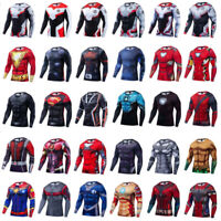 Men's T-shirts Compression 3D Printed Marvel Avenger Tee Gym Tops Long Sleeve