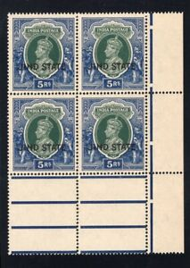 1937-38 India (Jind). SC#147. SG#123. Mint, Never Hinged, VF. Lwr Marg Blk of 4