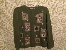 Christmas sweater Medium Croft & Barrow green holiday snowman cardigan ugly??