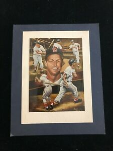 Stan Musial - Matted Photo of Angelo Marino Lithograph - St Louis Cardinals