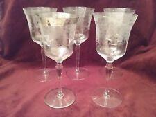 5 Elegant Glassware Depression Etched Urn & Bouquet Stemmed Goblets