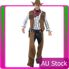 Mens Fringe Cowboy Rodeo Western Smiffys Licensed Fancy Dress Adult Male Costume