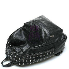 New PU Leather Punk Skull Rivet Bag Preppy Style Backpack Shoulders Bag Black
