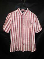 Marmot L Mens Red Blue White Plaid Short Sleeve Shirt Button Front Pocket Large
