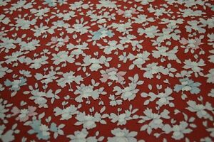 Japanese light maroon with white, pink and blue floral design 1453