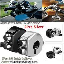 """2pc 7/8"""" 22mm Motorcycle Lights Horn Control Self-Latch Lock Buttons Switch 3in1"""