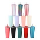 NEW 24oz Multicolor Diamond Studded Tumbler Durian Straw CUP It's Not Starbuc..