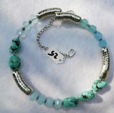 Collar Necklace Silver Tone w/ Turquoise Color Stones & Light Blue Beads $25 Tag
