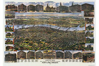 Map of Portland Oregon; Antique Map; Pictorial or Birdseye Map, 1890