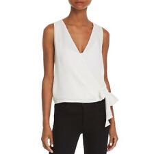 Aqua Womens White Sheer Knot-Front Sleeveless Wrap Top Blouse L BHFO 7422