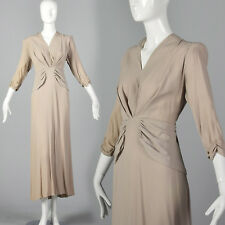 L 1940s Tan Crepe Dress Gathered Bodice Evening Gown Cocktail Party 40s VTG