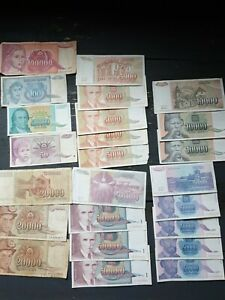 Small Collection of 24  Old Yugoslavia Banknotes. ##01