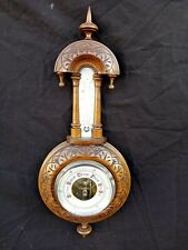Late 19th early 20th century aneroid barometer with thermometer