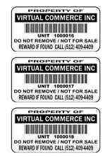 """250 2""""x1"""" Custom Printed UPC Barcode  Waterproof Inventory Stickers Labels Tags"""