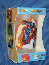 GHOST RIDER Rare 'Toon Tumblers FROSTED Glass ~Marvel Comics/Bronze Age Heroes