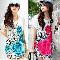 Summer Dress Women Short Sleeve Rose Print Mini Dress O-Neck Casual Loose Skirt