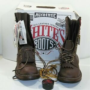 """White's Boots Logger Lineman Smokejumper Size 9D Smooth 12"""" Style 400-MV  New"""