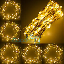 5X 100 LED 10M Copper Wire LED Twinkle Light Warm White String Fairy Light Flash