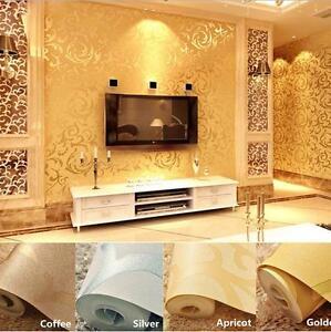 10m 3D Modern Non-woven Flocking Damask Embossed Wallpaper Home Art Decor YI