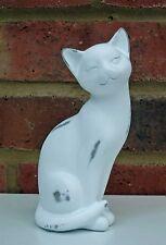 Cute Cat Ornament Statue 15cm White Figurine Ceramic Shabby Chic New