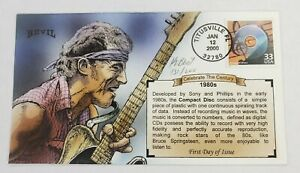 Bevil Hand Painted FDC Celebrate the Century 1980s CDs Bruce Springsteen 131/200