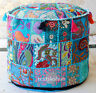 """18"""" Vintage Turquoise Pouf Cover Indian Handmade Patchwork Ottoman Home Decor"""