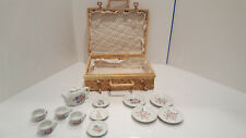 Childrens 12pc White Floral Porcelain Play Tea Set w/ Fabric Lined Wicker Basket