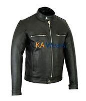 Mens Motorcycle Biker Real Leather Black Motorbike Jacket Pockets Racer Fashion