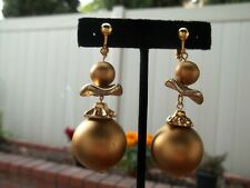 Wavy Disc Dangling Clip On Earrings Gorgeous Large Gold Ball, Small Ball and