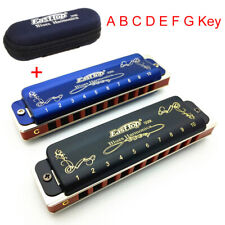 Professional T008K 10 Hole Blues Harmonica A B C D E F G Key Easttop Blue/Black