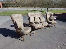 STUNNING ERCOL WINDSOR 3 PIECE SUITE SOFA AND 2 CHAIRS IN GOLDEN DAWN + CUSHIONS