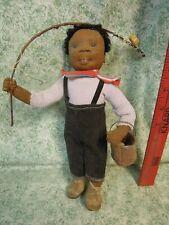 """den-251  DIANNE DENGEL doll; """"GOIN' FISHIN';  OOAK; 10"""""""