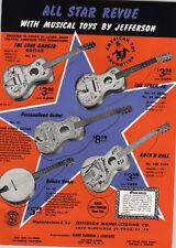 1957 PAPER AD Jefferson Toy Guitar Lone Ranger Texan Rock'N Roll Banjo Cowboy