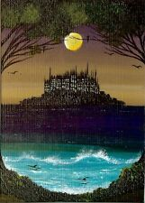 ACEO Original Haunted Island Gothic Castle Halloween Fantasy Fun  Painting HYMES