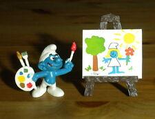 Smurfs Artist Super Smurf Painter Easel Brush Canvas Vintage Figure Toy 40239