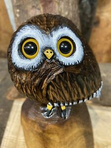 Mini OWL Chainsaw Carving WALNUT WOOD Owl Sculpture ORIGINAL Folk Artwork UNIQUE