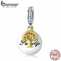 Bamoer S925 Sterling Silver AAA CZ charms Life Tree Dangle Fit Bracelet Chain