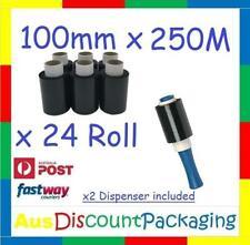 "(24x Roll) 100mm x 250M BLACK Hand Held Stretch Bundling Film wrapping 20um 1.5"""