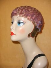 1970's Lavender Purple Knit Disco Beret Hat w/ Iridescent Paillettes Made Italy