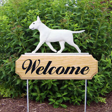 Bull Terrier Wood Welcome Outdoor Sign White