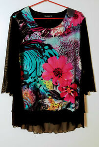 CORDELIA ST Womens 14 Tunic Top Floral Layered Multi-Colour Front Sheer Sleeves