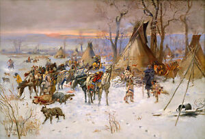 """Charles Marion Russell –   """"When Horses Talk War"""" Giclee Canvas Print 16""""x24"""""""