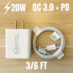 For iPhone 12 11 XR Android 20W PD QC 3.0 Fast Charger Power Adapter USB C Cable