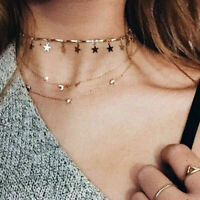 Fashion Women Simple Choker Necklace Tiny Star Chain Gold Silver Jewelry Gift