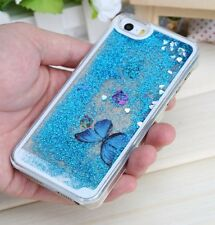 For iPhone SE 5S - Hard Case Cover Flowing Liquid Glitter Sparkle Butterfly BLUE