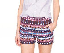 NWT~J CREW Cotton piqué short in gemstone print~00~RET $69