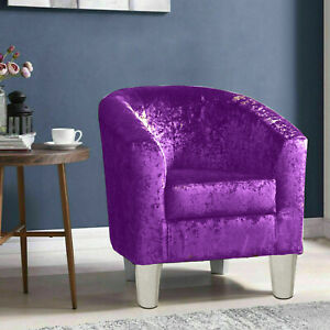 Velvet Fabric Silver Tub Chair Armchair Home Cafe Lounge Bedroom Office Shop New
